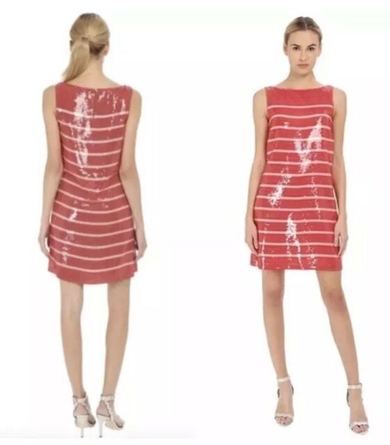 92c0502fc53 NWT  598 Kate Spade Sleeveless Red Pink Sequin Stripe Shift Dress Size  4