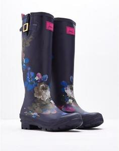 JOULES-Printed-Navy-Floral-Wellie-Tall-Expandable-Buckle-Top-Rubber-Boot-Wms-NWT