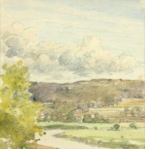 Landschaftsbild, Blick über den Sollinger Wald in Niedersachsen, 1877, Aquarell