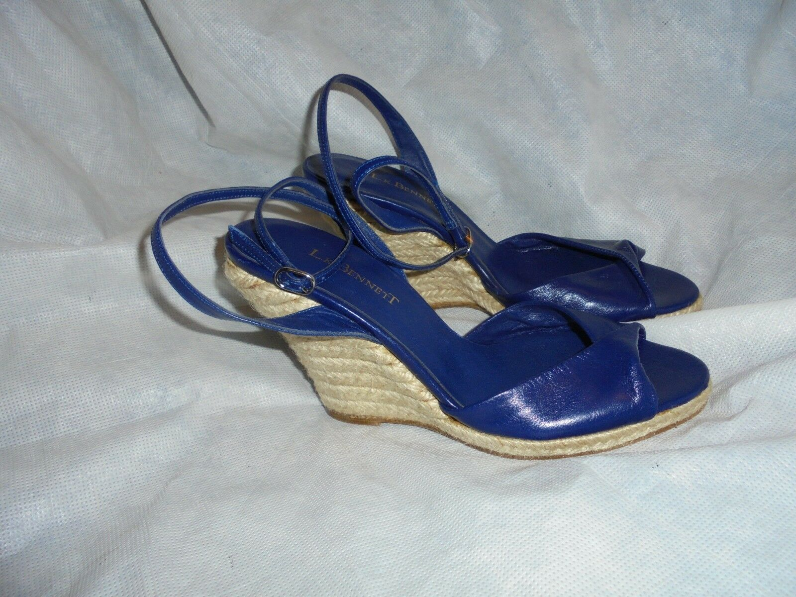 L.K. BENNETT LADIES  Blau LEATHER BUCKLE STRAP WEDGE SANDALS SIZE UK 4 EU 37 VGC