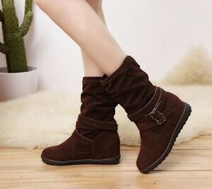 Details about Womens Ladies winter Flat Faux Suede Slouch Low Heel Wedge Ankle Boots Shoes Siz