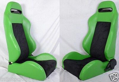 NEW 2 GREEN & BLACK PVC LEATHER RACING SEATS RECLINABLE w/ SLIDER ALL HONDA
