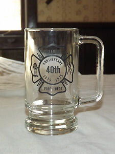VINTAGE 1935-1975 WESTMERE NY FIRE DEPARTMENT  40TH ANNIVERSARY  GLASS  MUG