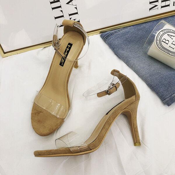 Sandalen Stilett Elegant Absatz 7 cm Beige Stilett Leder Kunststoff 1167