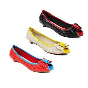 WOMENS-LADIES-LOW-KITTEN-HEEL-PEEP-TOE-LOAFERS-BALLERINA-SHOES-SANDALS-SIZE-3-8