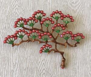 Vtg-Style-Japanese-Tree-Pin-brooch-in-enamel-on-gold-tone-metal-w-faux-pearl