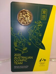 2020-Australian-Olympic-Team-Gold-Plated-Round-50-Cent-Coin-Card