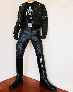 Men-039-s-Black-Real-Genuine-Leather-Pant-Motorcycle-BLUF-Breeches-Jeans-Trousers