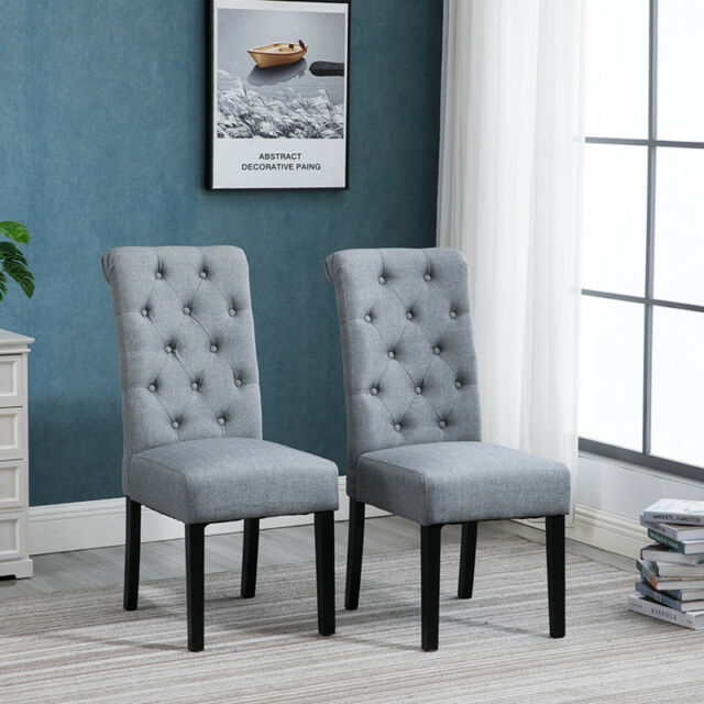 2pcs Grey Dining Chairs Fabric Padded Seat Button Tufted Wood Legs Diningroom Bn For Sale Online Ebay