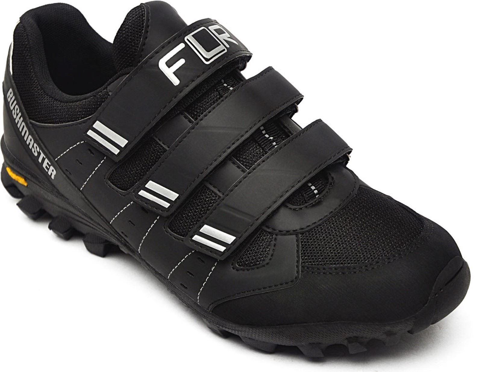 Bushmaster MTB Trail Zapatos Flr en Negro Plata Con Cierre-tamaño 44