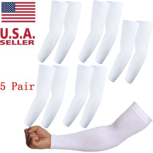 5 pairs White Cooling Arm Sleeves Cover UV Sun Protection Basketball Sport