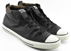 MENS-CONVERSE-CHUCK-TAYLOR-ALL-STAR-LEATHER-SHOES-SIZE-12-BLACK-WHITE-STREET
