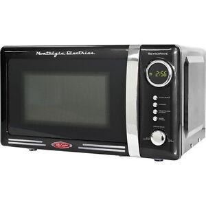 Black Retro 0 7 Cu Ft Countertop Microwave Oven Compact