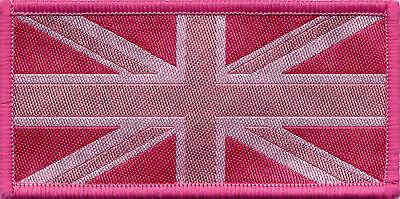 Union Jack UK Flag Badge Patch Blue Tones 9.8 x 4.9cm