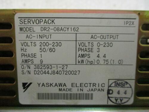 Yaskawa DR2-08ACY162 AC Servopack Servo Drive 200V 0.75kW 1HP 4.4Amp *Tested*