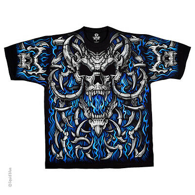 New BLUE FLAME SKULL T Shirt
