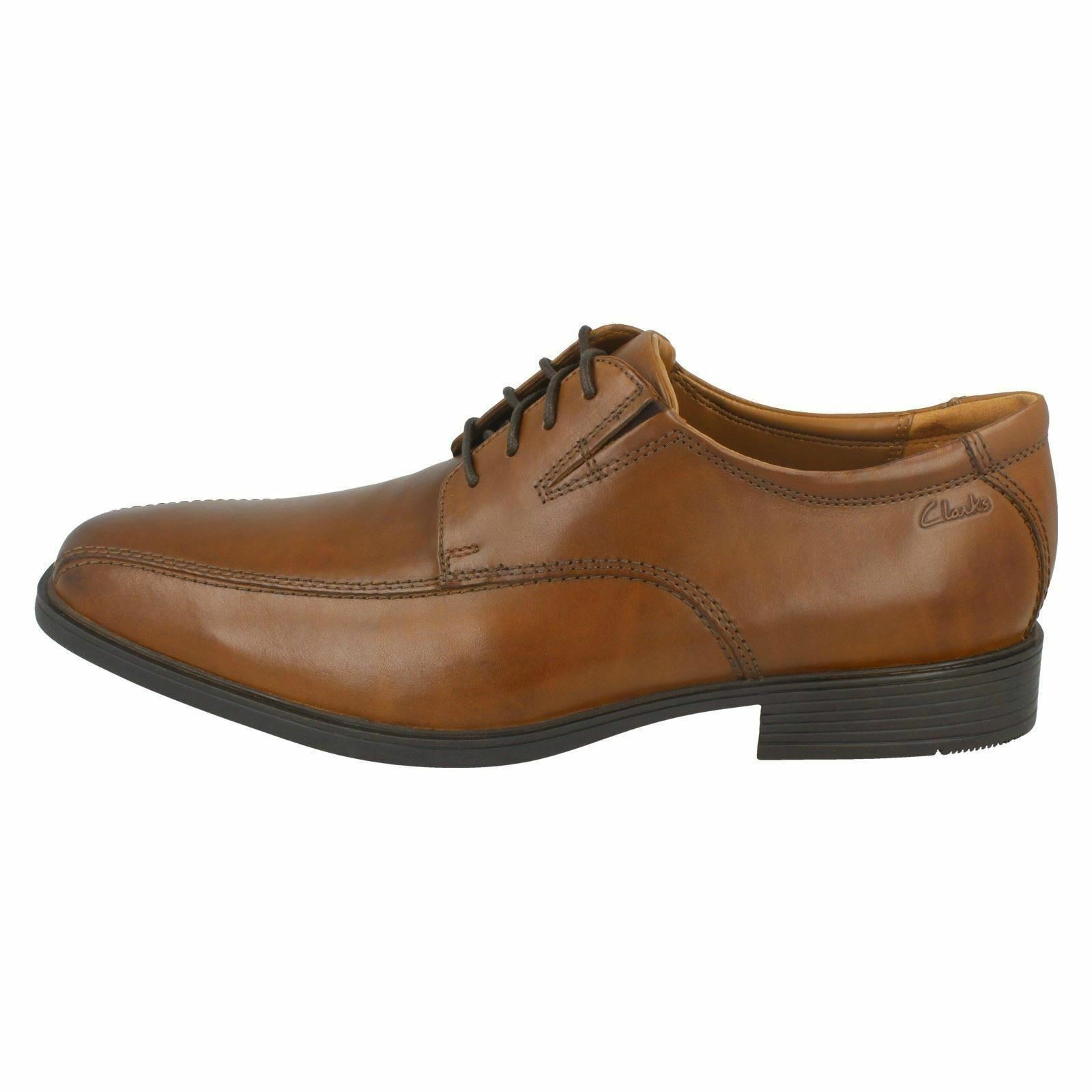 Mens Black/Brown/Dark Tan Clarks Leather Fitting Lace Up Shoes G Fitting Leather  Tilden Walk cb732c