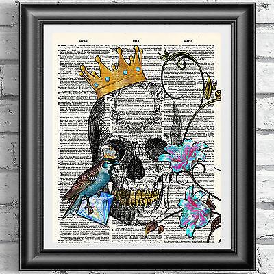 Original ART Print DICTIONARY ANTIQUE BOOK PAGE Mermaid Tattoo Skull Print