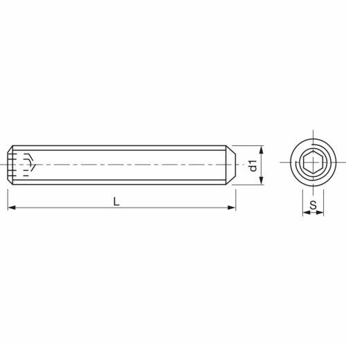 DIN 913 ISO4026 M 6x 25 Edelstahl A2 Gewindestift mit Kegelkuppe Innensechskt
