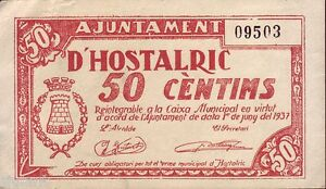 Banknotes Local - Hostalric (Catalonia) - 50 Cts - Year 1937 - Without Series -