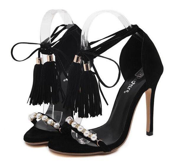 Sandalei eleganti tacco stiletto 11 simil cm nero perle simil 11 pelle eleganti 9847 2e03c0