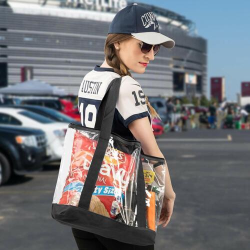 Clear Tote Bag Plastic Transparent Purse Handbag Zipper Security Event Stadium..