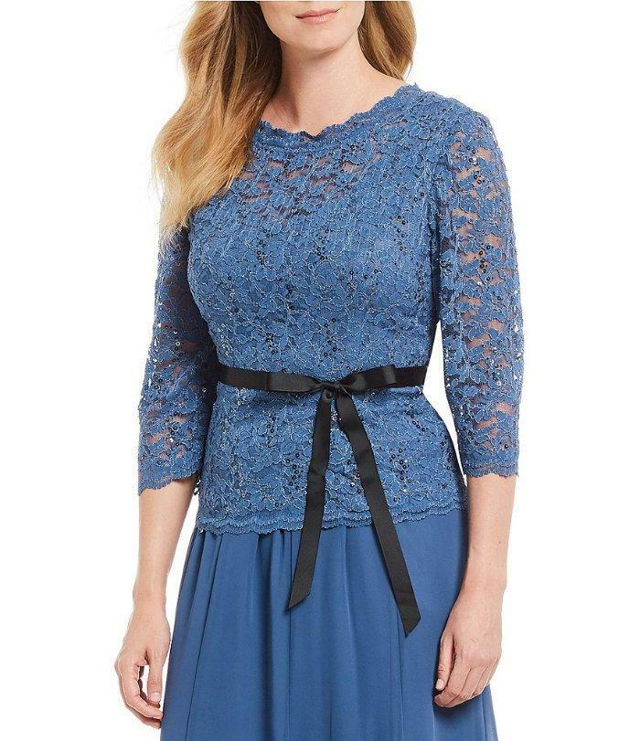 ALEX EVENINGS® L Blau lila 3 4 Sleeve Lace Illusion Neck Top NWT
