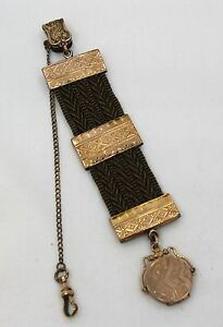 4b2480fbd4113 Details about Antique Victorian Mourning Woven Hair Watch Chain With Locket  Fob