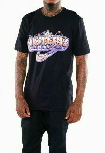 Nike T Shirt Black Basketball Graffiti Shirt Mens Size L NWT MSRP $35 Christmas