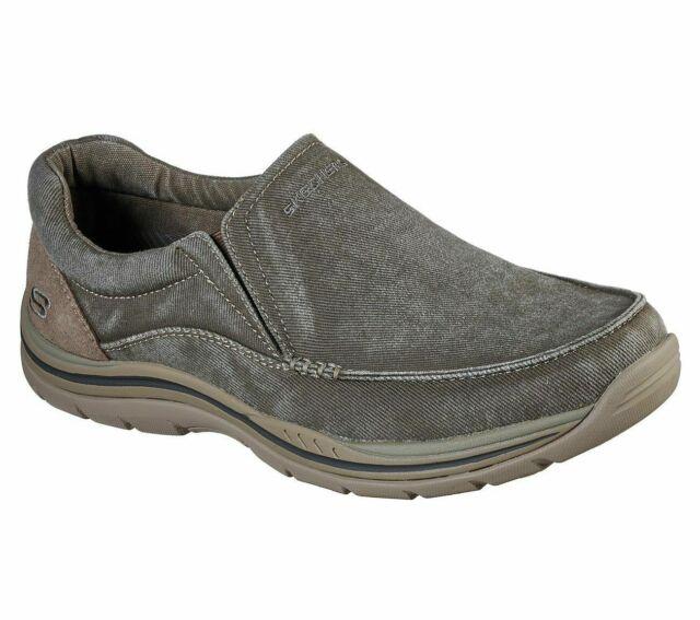 Khaki Men Skechers Extra Wide Fit Shoe Comfort Slipon Casual Canvas Loafer 64109