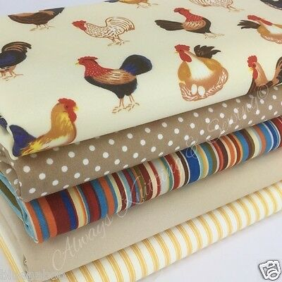 farmhouse chickens stripes & spots 5 fat quarter fabric bundle 100% cotton