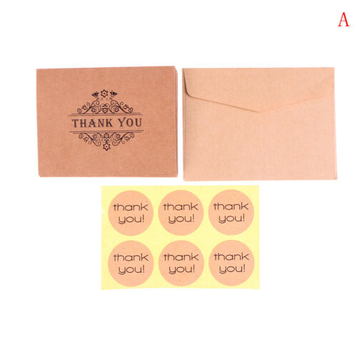 18pcs kraft paper thank you greeting cards envelopes seal stickers party decorOF