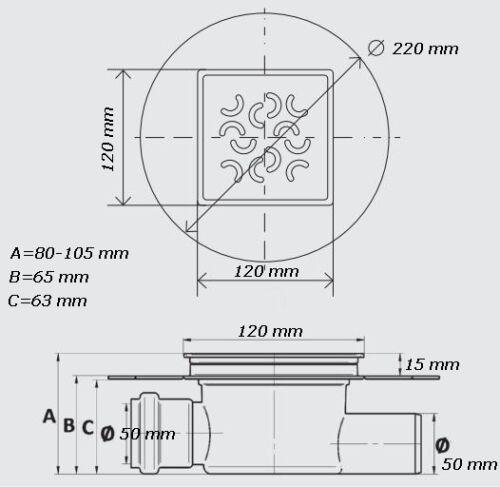 Bodenablauf  Badablauf  DN50 ultraflach mit Edelstahl Rost 120 x 120 mm Typ2