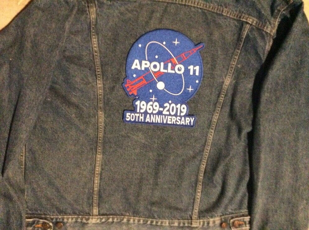 """APOLLO 11 PATCH 50TH ANNIVERSARY LARGE 10/"""" JACKET STYLE 1969-2019 NASA SPACE"""