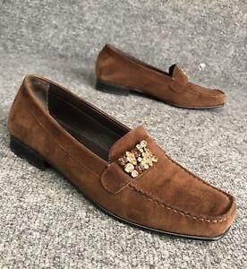 Stuart-Weitzman-Brown-Suede-Rhinestone-Jeweled-Loafers-Womens-Size-6-5-M-In-EUC