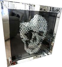 Mirrored Glass Black Skull Crystal Jewel Gem Square Wall Hanging Mirror Modern