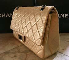 CHANEL 2.55 REISSUE 227 DBL FLAP PALE GOLD AGED CALF NEW IN BOX TAGS CARD MINT
