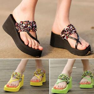 c6a565981bfb Details about 2017 Fashion Women s Summer Flip Flops High Heel Slippers  Platform Wedge Sandals