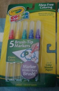 CRAYOLA COLOR WONDER MESS FREE 5PK OF CLASSIC COLORS BRUSH-TIP MARKERS~NEW