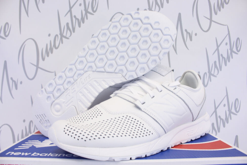 NEW BALANCE 247 SZ 9 TRIPLE WHITE LEATHER RUNNING SHOE MRL247LW