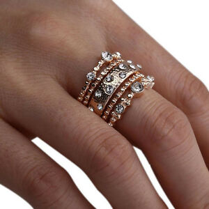 4a5cd6063ccdb7 5Pcs/Set Crystal Rose Gold Stackable Ring Fashion 5 Sparkly Rings ...