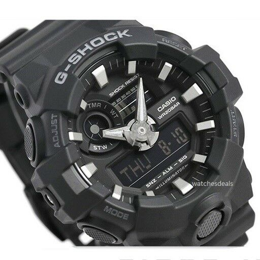 CASIO G-SHOCK, GA700-1B GA-700-1B, ANALOG DIGITAL, ALL BLACK, MATTE, BIG CASE