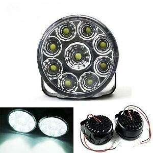 LED-Lights-DRL-Round-FRONT-FOG-6000K-White-Lamps-Light-Bar-4X4-4WD