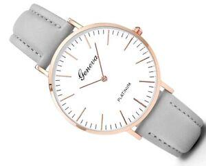 Damenuhr-Armbanduhr-Silber-Gold-Grau-Lederoptik-Uhr-Blogger-Trend-Watch-Quarz
