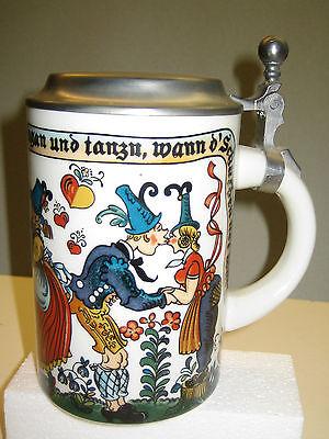 Romantisch Bayerischer Bier-zinn-keramikkrug, 1/2 Liter, Neu, Deckel, Bay. Spruch