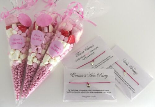 Hen Party Wish Bracelet and Pre Filled Sweet Cone Personalised