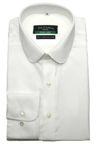 Peaky Blinders White shirt Men Penny Collar Herringbone stripe Round Club Shelby