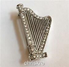 Silver Plated Crystal Harp Pin Brooch Music Teacher Musician Gift Celtic USA