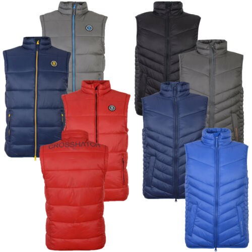 Crosshatch Mens Padded Gilet Zip Up Chevron Quilted Sleeveless Bodywarmer Jacket