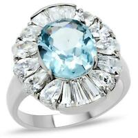 Stainless Steel Aquamarine Topaz Cz Cocktail Halo Flower Blue Oval Promise Ring